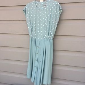 Vintage Polka Dot Mint Dress with Hidden Shorts